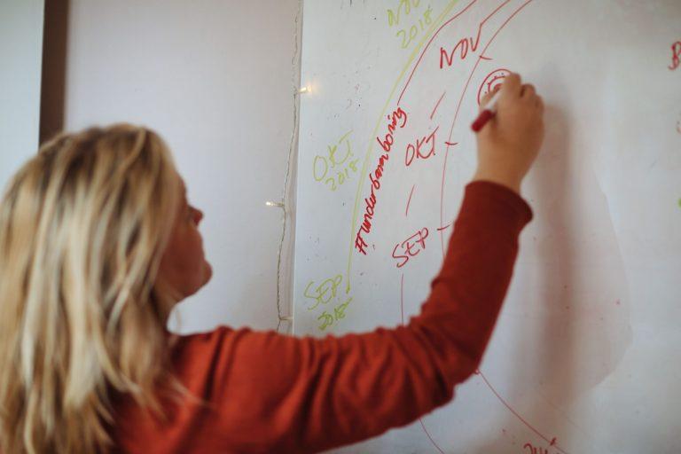 Erica står framför whiteboard och skriver med spritpenna.